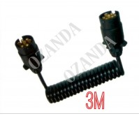 7 PIN PLUG WITH SPRING CABLE ROUND MALE TO MALE 3M TRAILER PART CARAVAN